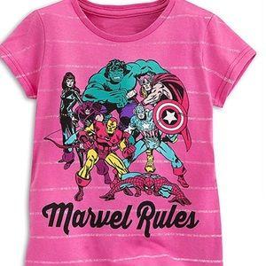 NWT Disney Store Pink Marvels Rule Shirt Girls